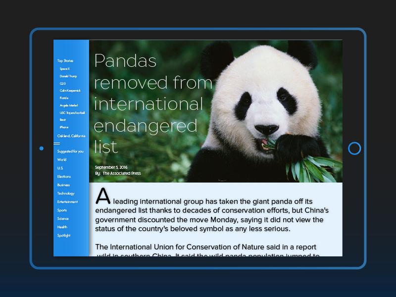 iPad News App Design dailyui ui freelance for hire ios news feed design app news bay area arden hanna ipad