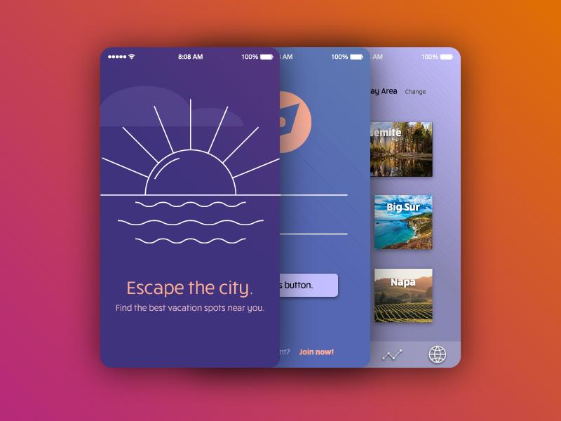 iOS Onboarding for Vacation App ueno for hire freelance bay area arden hanna app design illustration onboarding dailyui ios