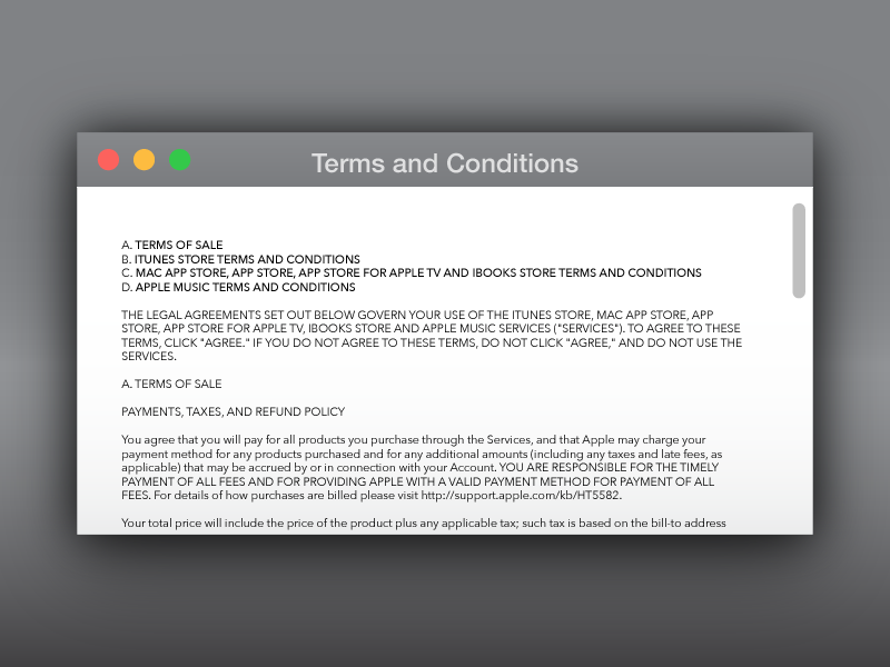 Terms of Service for DailyUI 089. webdesign interface ui freelance for hire bay area arden hanna fine print terms of service 089 dailyui