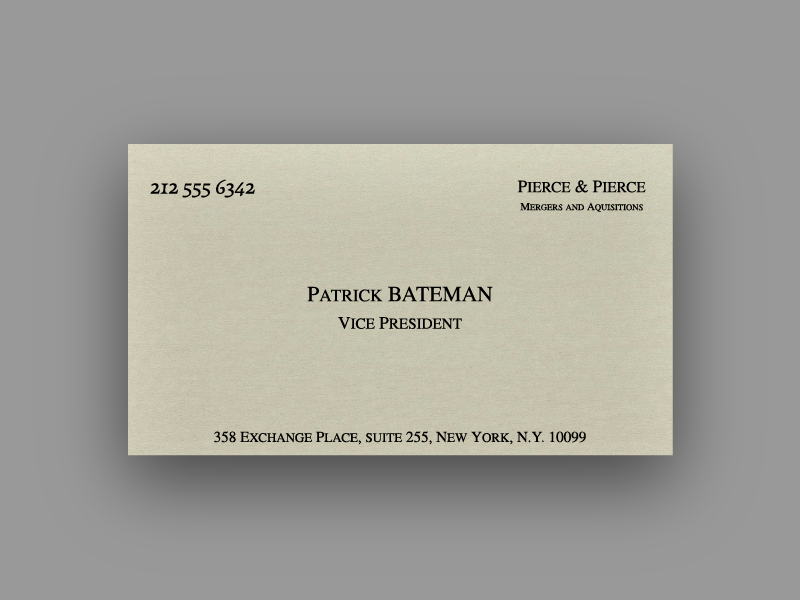 Business Card Design bay are drop shadow business card freelance for hire arden hanna american psycho