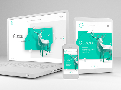 Simple and responsive company page clean phone desktop responsive reindeer green graphic design platform interface ux ui