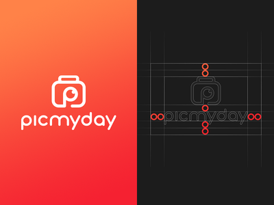 Pic My Day Logo photographer day animation photography motion picture eye red orange design graphic logotype logo