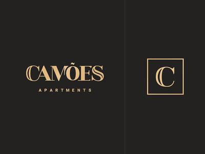 Camões Apartments Logo fancy dark brown apartment camoes house premium gold design graphic logotype logo