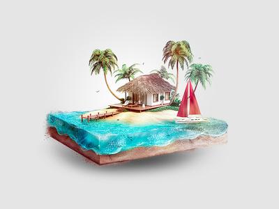 Isometric Beach house island fish foam illustration isometric under sea water sand blue red boat palm tree house beach beach house