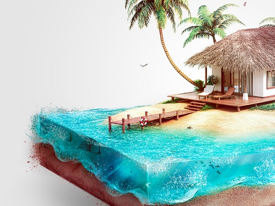 Isometric Beach house island fish foam illustration isometric under sea water sand blue red boat palm tree house beach beach house