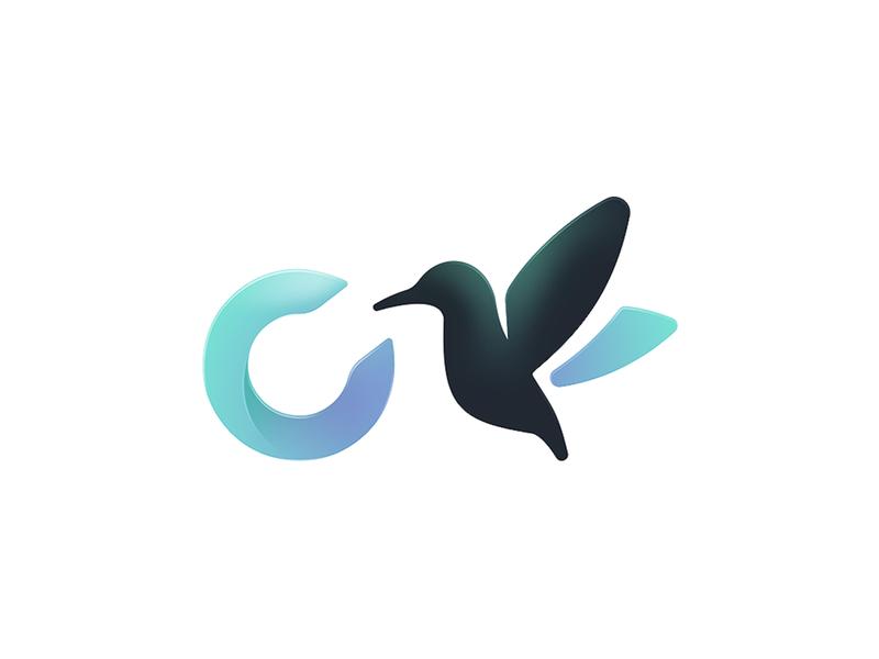 Inovacare Logo c green blue brand health care bird logo branding illustration design vector graphic