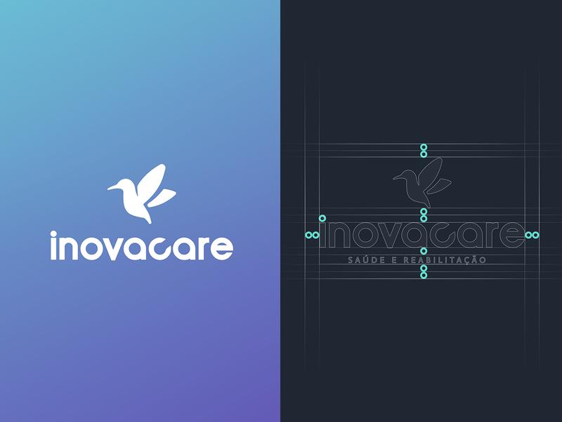 Inovacare Logo blue health care brand bird health illustrator branding logo design vector graphic