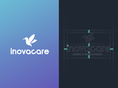 Inovacare Logo blue health care brand bird health illustrator branding logo design vector graphic