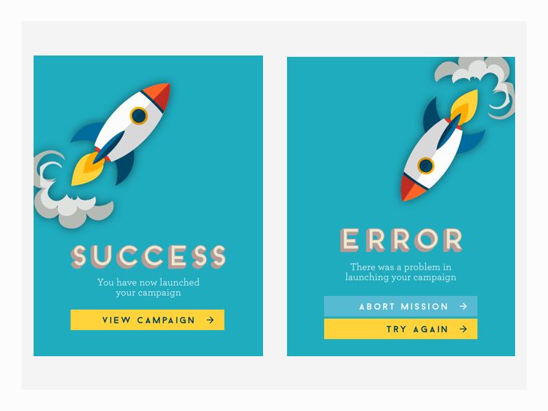 DailyUI // Day 11 : Flash Message (error/success) flash message mission abort launch fail error success rocket