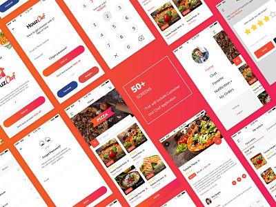 HouzChef App - App Screens order delivery app food app restaurant app branding ux design ios app android app ui design food chef mobile ui ui