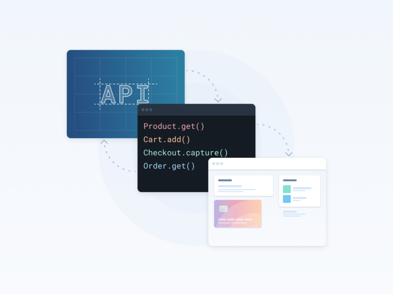 Structure (updated) ecommerce illustration browser credit card checkout code ide api structure