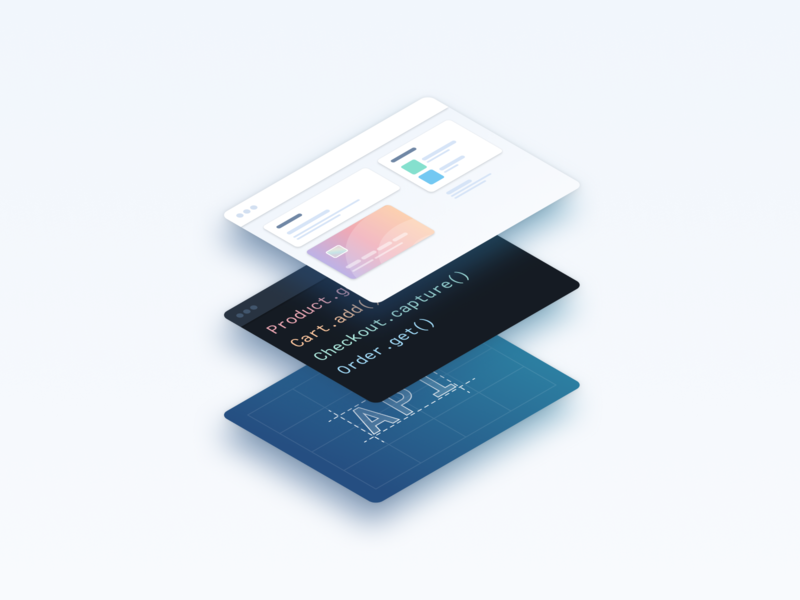 Structure (alternative) isometric illustration ecommerce browser checkout code api ide structure