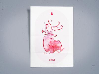 H2GO Poster zen logo watercolor mindfulness illustration poster grace box