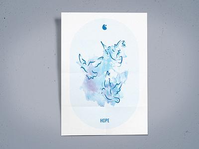 H2GO Poster positivity hope zen watercolor poster mindfulness logo illustration box