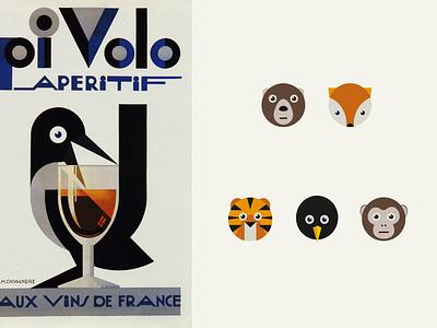Animal illustrations flat fox penguin animals illustration children books poster children book illustration children puzzles