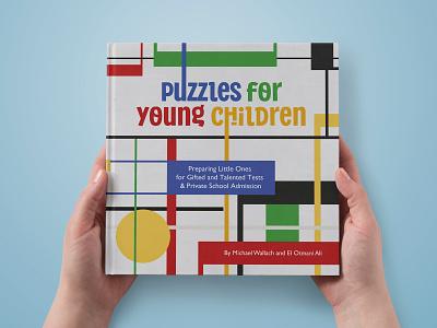 Puzzles for young children Cover geometric bauhaus piet mondrian print colors colorful children book illustration illustration cover book
