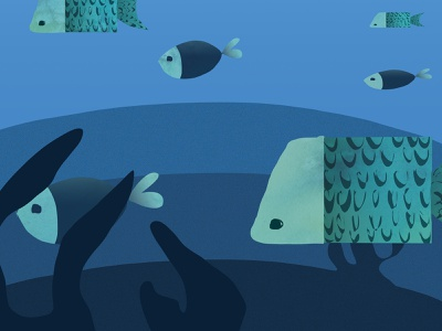 Product bag illustration bag design apparel clothing gradients flat blue fish illustration children illustration