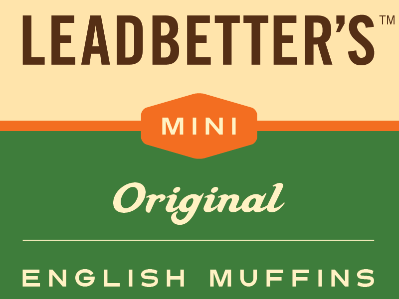 Leadbetter's Mini English Muffin Packaging color clean minimal food packaging graphic design logo design packaging