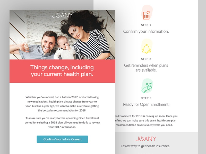 Email Campaign for Joany health plan healthcare web proxima nova typography ui marketing email