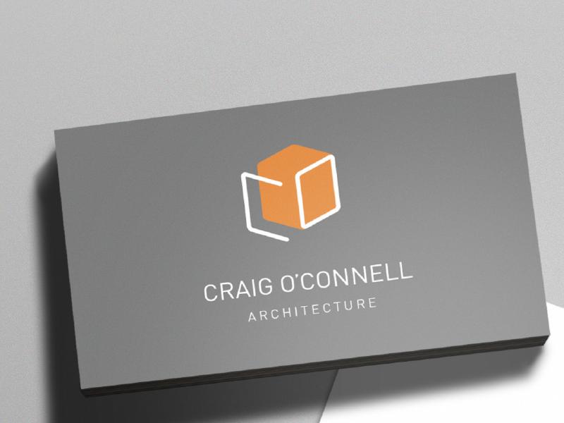 Craig O'Connell Architect Business Card minimal cube identity branding logo din architect architecture