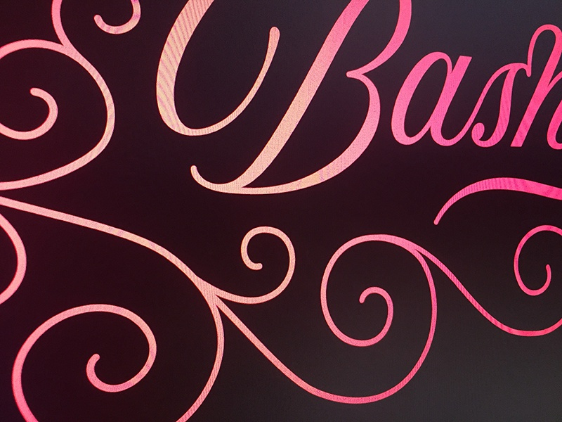 Bash! logotype branding decorative lettering typography vintage retro fancy script swash swirl