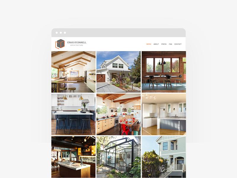 Craig O'Connell Architecture Website minimal cube website identity branding logo din architect architecture