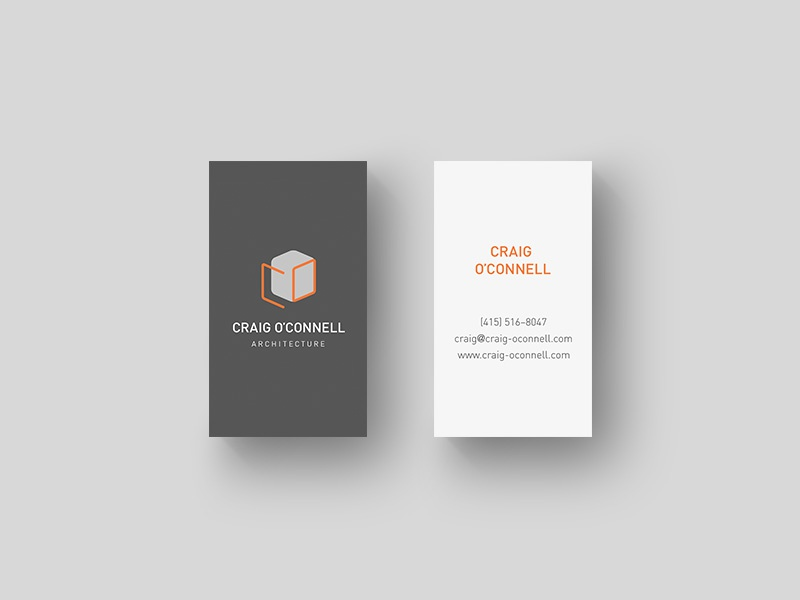 Craig O'Connell Architecture Brand Identity business cards minimal cube identity branding logo din architect architecture