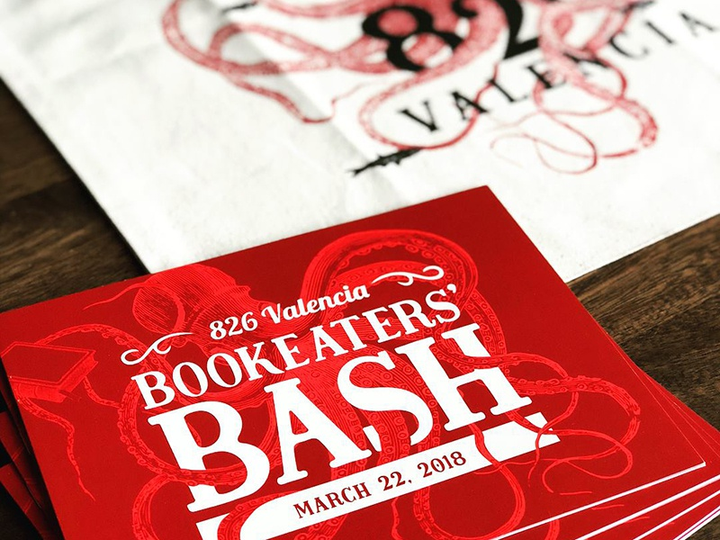 826 Valencia Bookeaters' Bash red invite invitation nonprofit logo identity brand branding