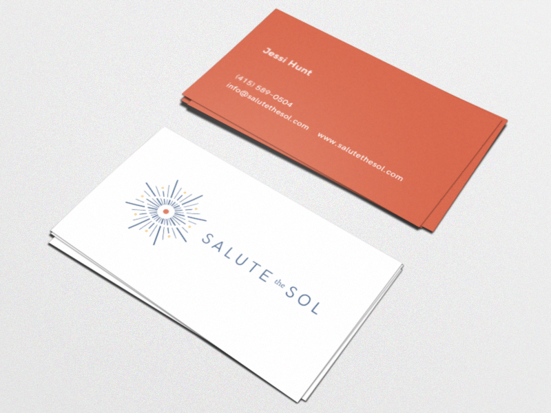 Salute the Sol Business Cards coach lifestyle coaching business cards hk grotesque sun logotype logo identity brand branding