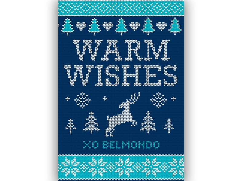 Belmondo Holiday (Sweater) Card 2018 holiday sweater reindeer tree heart warm wishes graphic design knitting knit christmas holiday card holiday