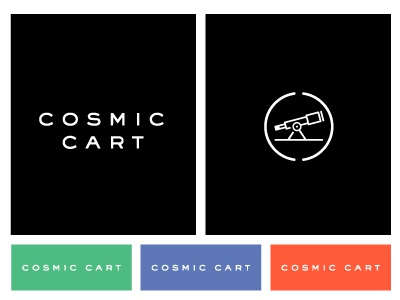 Brand Exploration identity logo icon palette telescope brand cosmic cart