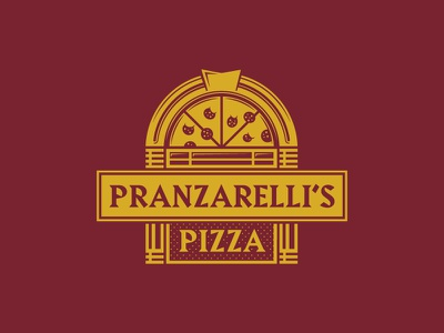 Play that pizza song record restaurant music jukebox logo identity pizza