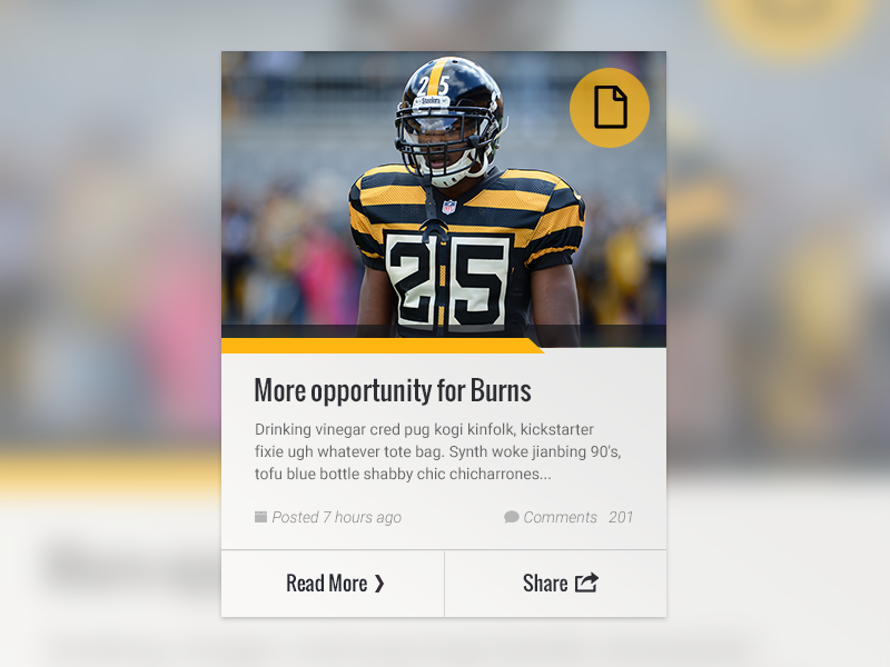 Featured Content Card ux visual design ui image content block news feed football yellow black