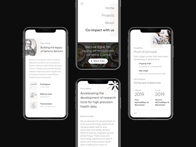 Santorio Foundation iPhone mockups modern engraving black and white cards mobile design mobile ui ui ux mockup health science philanthropy pattern minimal typography user interface mobile case study website web