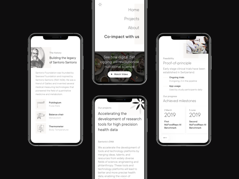 Santorio Foundation iPhone mockups modern engraving black and white cards mobile design mobile ui ui ux mockup health science philanthropy pattern minimal typography user interface mobile case study website web