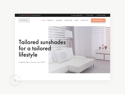 Norsol Website environment smart solar sun protection curtains sunshades shades awnings factory tailored minimal typography user interface case study app website web branding brand logo