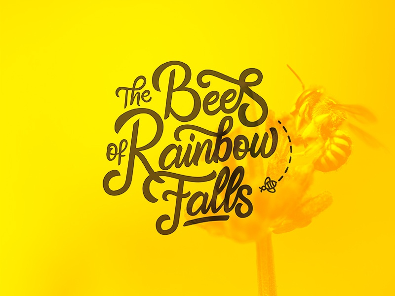 """Logo for """"The Bees of Rainbow Falls"""" logo design branding logo calligraphy type design font drawing typography lettering hand lettering"""