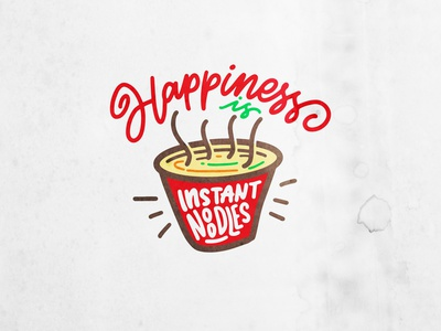 Happiness is instant noodle doodle tees noodles tshirt foot noodle illustration typedesign logo drawing type design calligraphy font hand lettering typography lettering