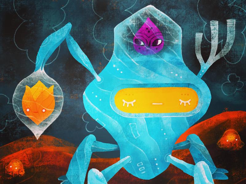 Pod 3: Your lava fields transport has arrived procreate concept design illustration