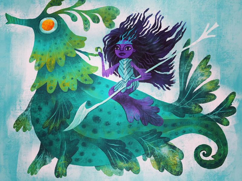 Mermaid procreate concept design illustration
