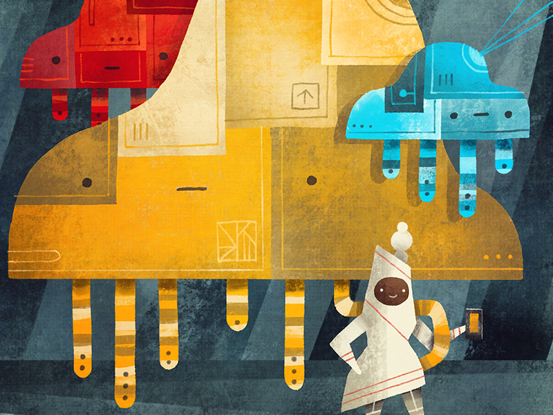 Mobile Data Cloudbots robots illustration