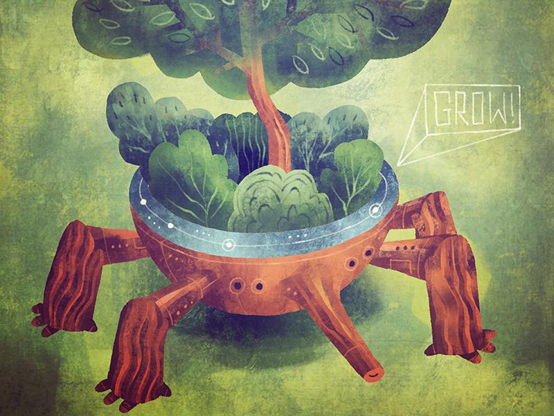 Perennial Plantbot on the move robots illustration