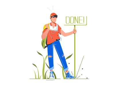 "Man standing near sign ""Done"" kit8 flat vector illustration done sign stand"
