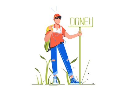 "Man standing near sign ""Done"""