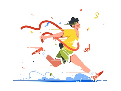 Winning athlete crosses finish line kit8 flat vector illustration character run finish crosses athlete