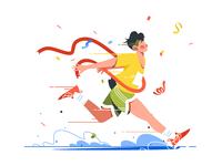 Winning athlete crosses finish line