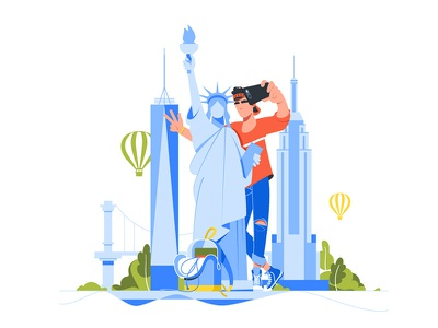 Young handsome man makes selfie with statue of liberty kit8 flat vector illustration character tourist travel selfie man