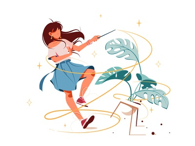 Girl with magic wand turning potted plant into something kit8 flat vector illustration character plant wand magic girl woman