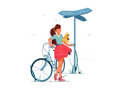 Confusion woman lost with bicycle kit8 flat vector illustration character bicycle sign way lost woman