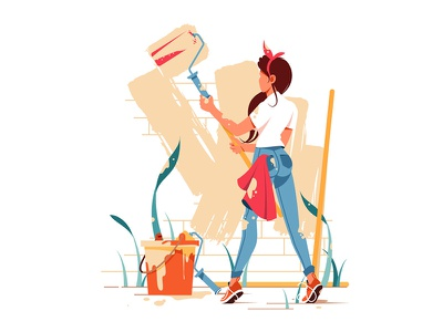 Female painting wall kit8 flat vector illustration character wall painting girl woman